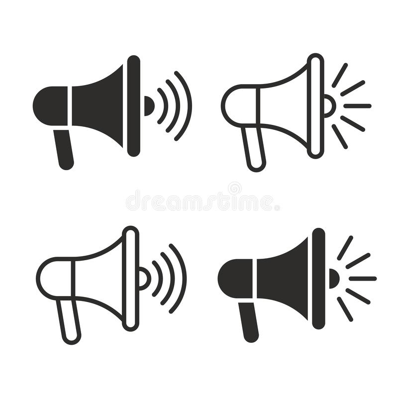 Loudspeaker megaphone line black icon set stock photos