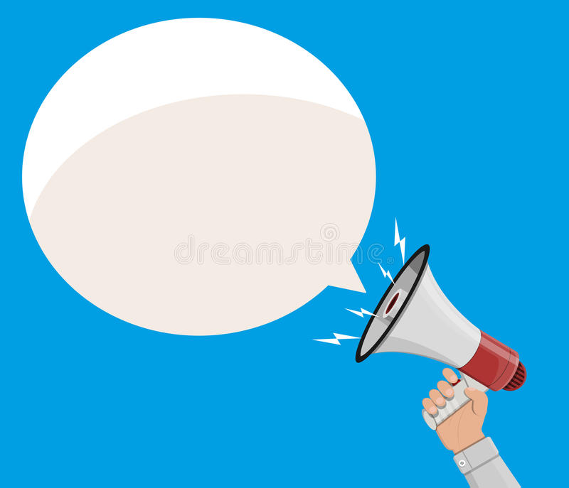 Loudspeaker or megaphone and speech balloon. Loudspeaker or megaphone in hand and speech balloon. Announcement element. Vector illustration in flat style stock illustration