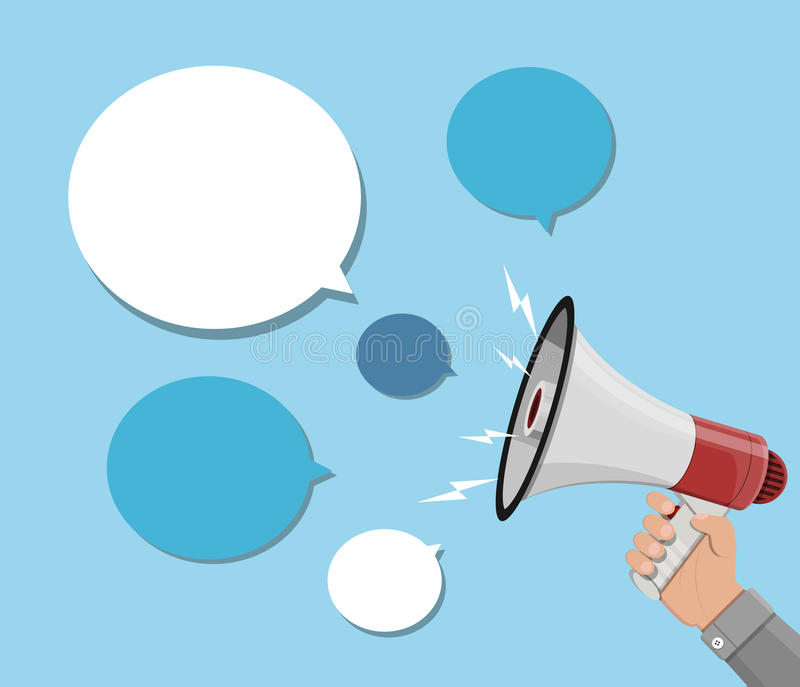 Loudspeaker or megaphone and speech balloon. Loudspeaker or megaphone in hand and speech balloon. Talk balloon and bullhorn. Announcement element. Vector royalty free illustration
