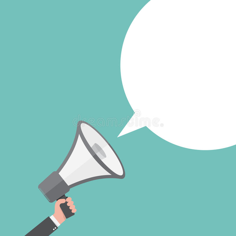 Loudspeaker or megaphone with speech bubble. Vector illustration. Loudspeaker or megaphone icon. Gray megaphone in hand with speech bubble, on colored stock illustration