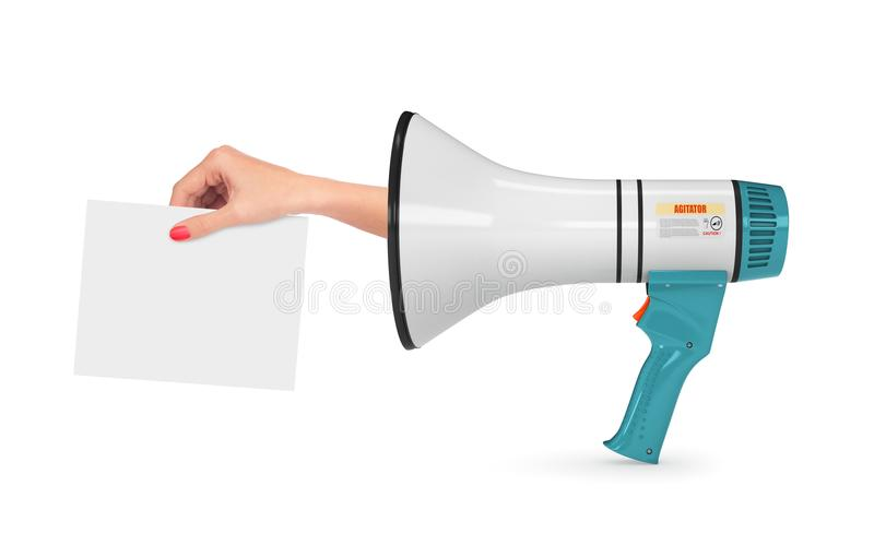 Loudspeaker or a megaphone from which you can see the hand that holds a piece of paper. Element of the declaration. 3d royalty free stock photos