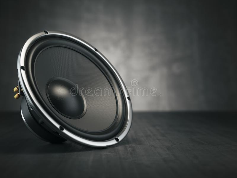 loudspeaker Orador sadio acústico dos multimédios no backgro preto ilustração stock
