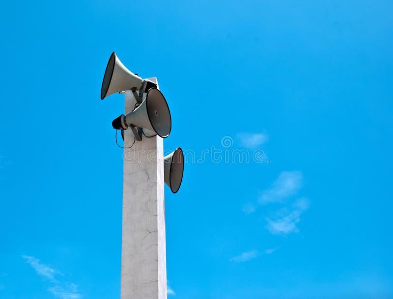 Loudspeaker on sky. Loudspeaker against the blue sky stock photography