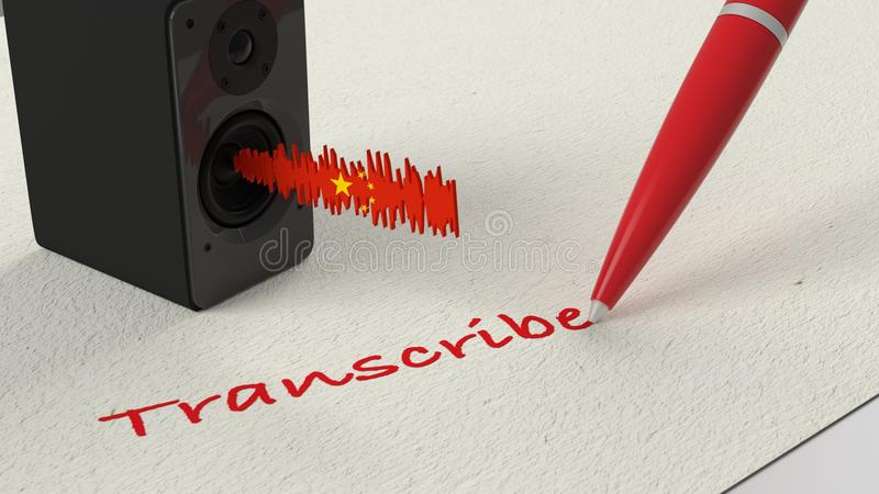 Loudspeaker standing on paper with a Chinese textured soundwave stock illustration
