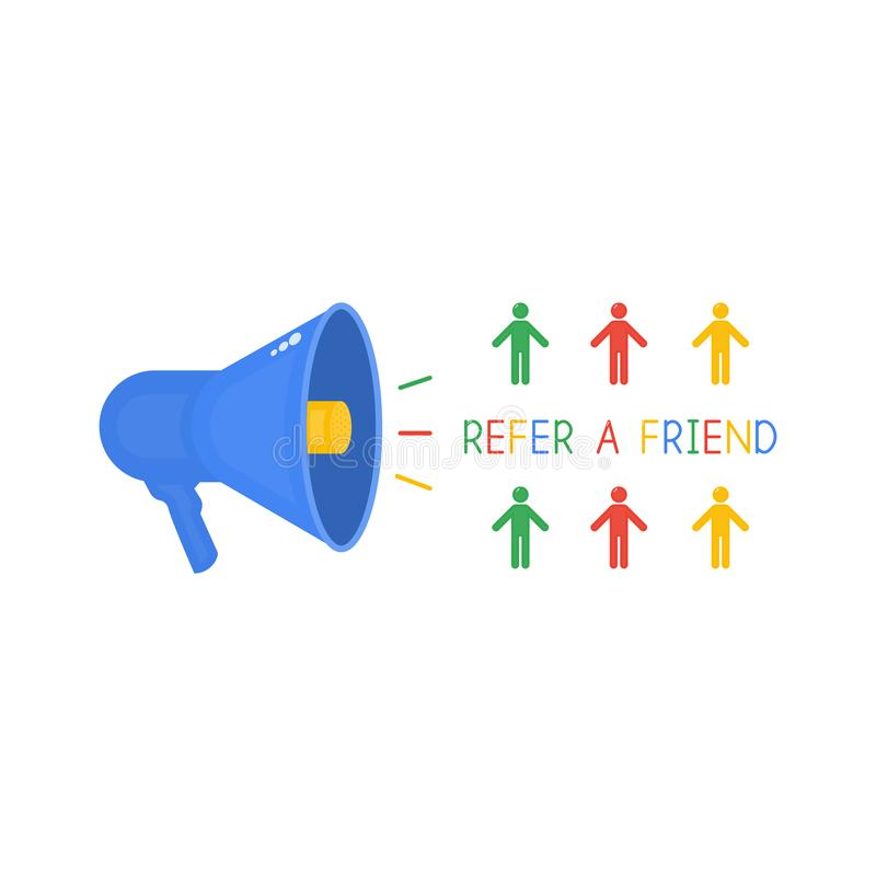 Loudspeaker and text refer a friend, referral program in the Internet industry, multicolored people, social media stock illustration