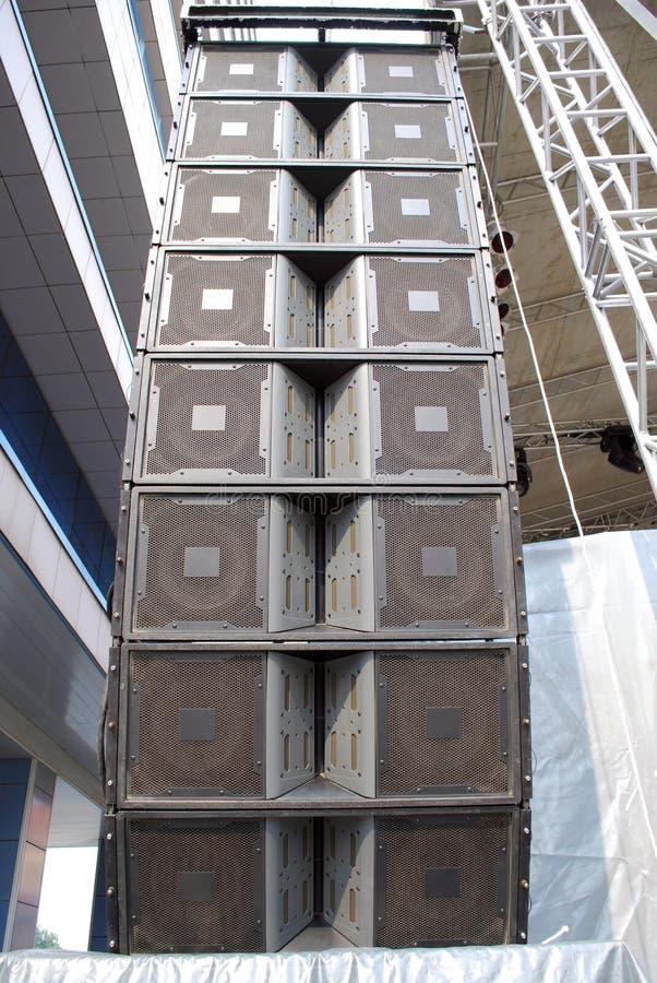 Loudspeaker tower. Concert equipment loudspeaker music tower royalty free stock images