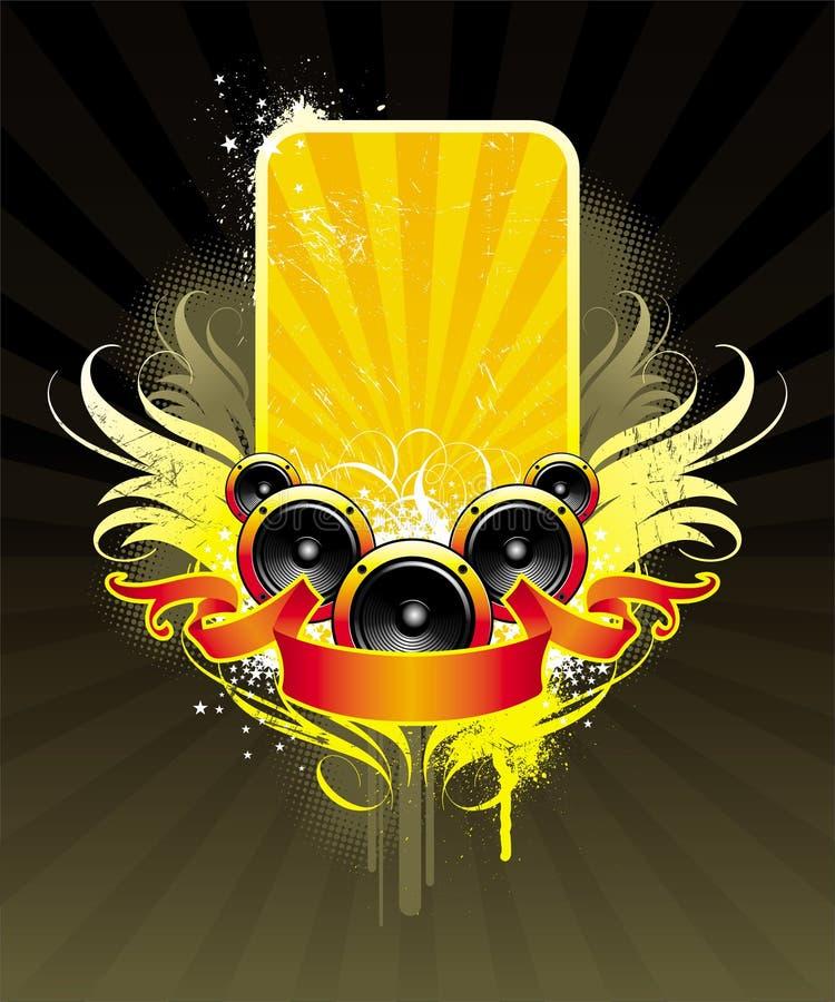 Loudspeakers, banner & frame royalty free illustration