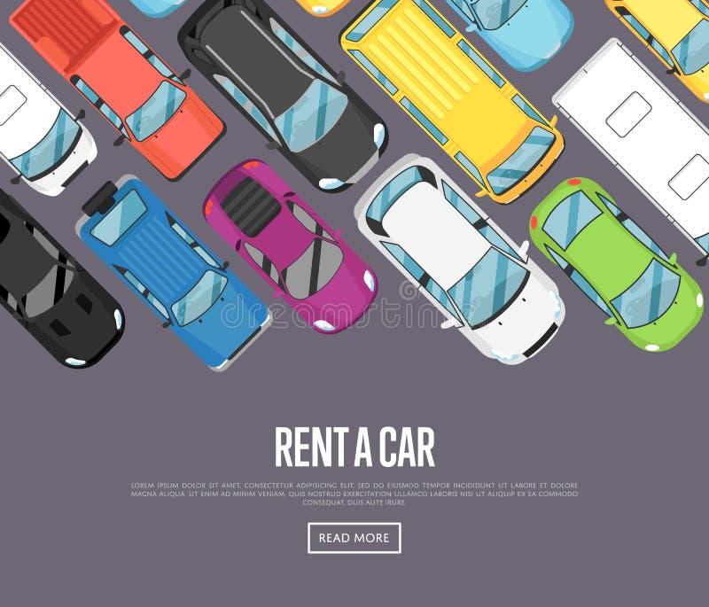 Louez une affiche de voiture avec les voitures modernes de ville illustration stock