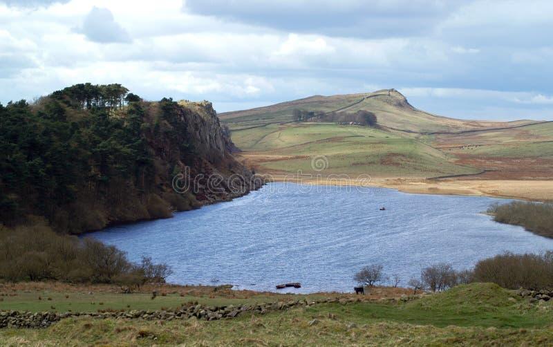 Lough do Crag e parede de Hadrians foto de stock royalty free