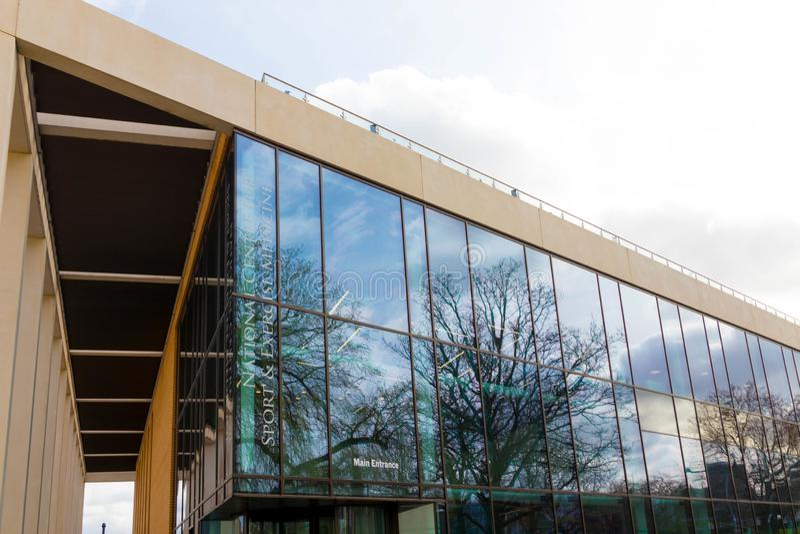 Loughborough/Großbritannien - 03 03 19: Loughborough-Hochschulsport-Gebäudecampus Vereinigtes Königreich lizenzfreie stockfotos