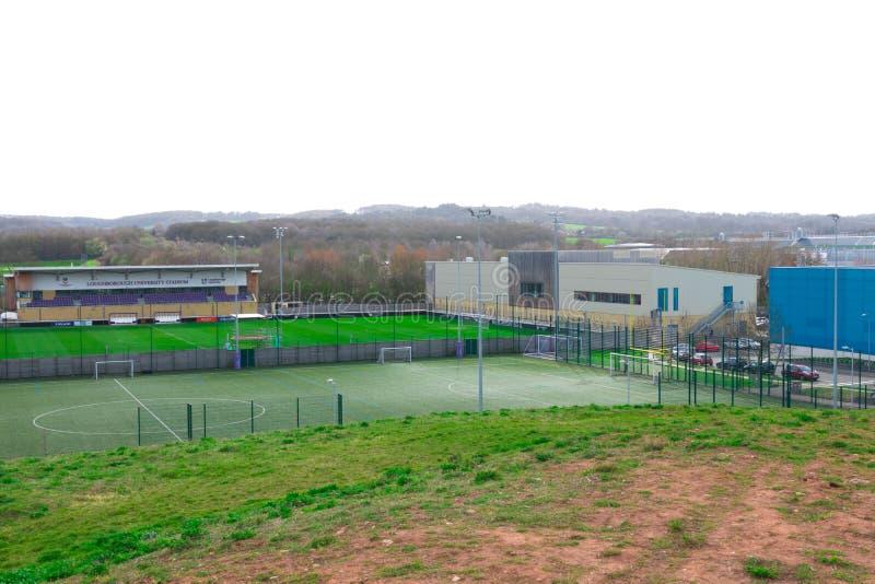 Loughborough/Großbritannien - 03 03 19: Loughborough-Universitätsgelände-Sportfelder lizenzfreie stockfotos