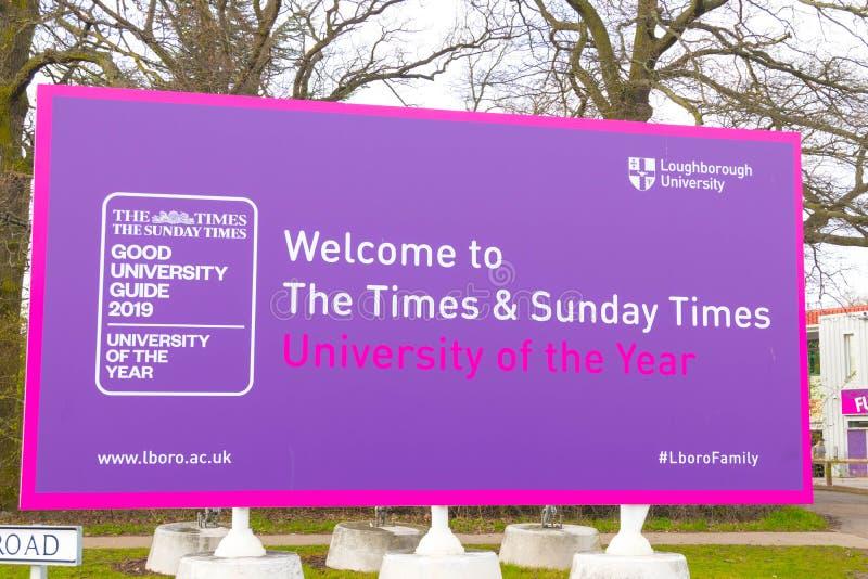 Loughborough/Regno Unito - 03 03 19: Città universitaria Regno Unito delle costruzioni di sport dell'università di Loughborough fotografie stock