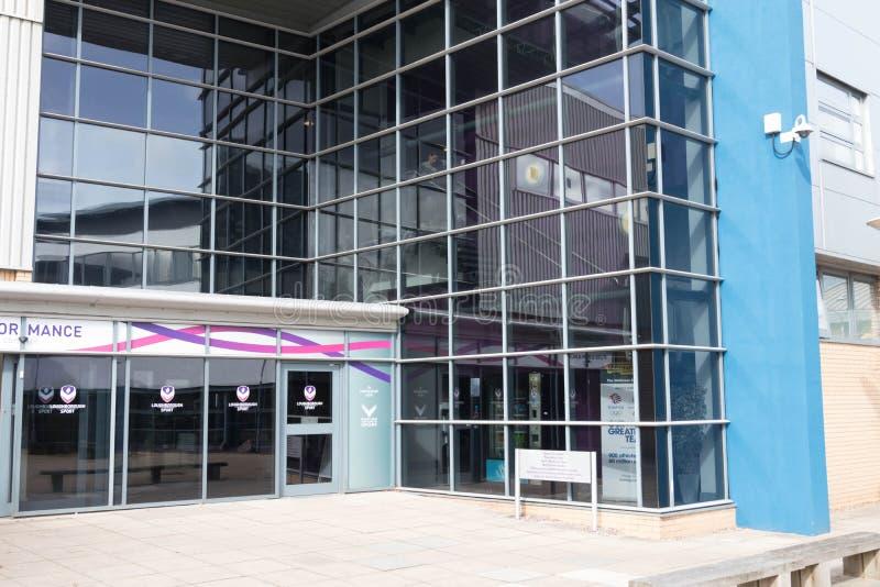 Loughborough/Regno Unito - 03 03 19: Città universitaria Regno Unito delle costruzioni di sport dell'università di Loughborough fotografia stock