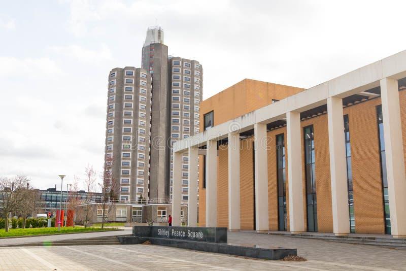 Loughborough/Regno Unito - 03 03 19: Città universitaria Regno Unito delle costruzioni di sport dell'università di Loughborough fotografia stock libera da diritti
