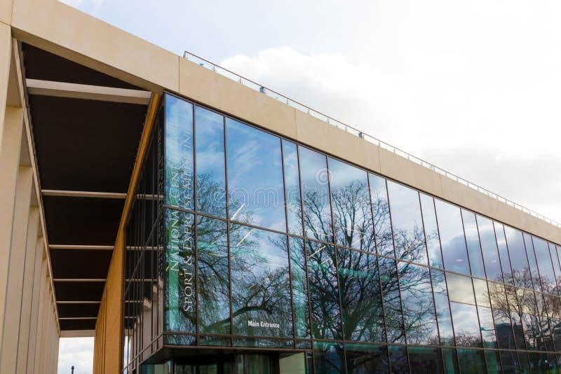 Loughborough/Regno Unito - 03 03 19: Città universitaria Regno Unito delle costruzioni di sport dell'università di Loughborough fotografie stock libere da diritti