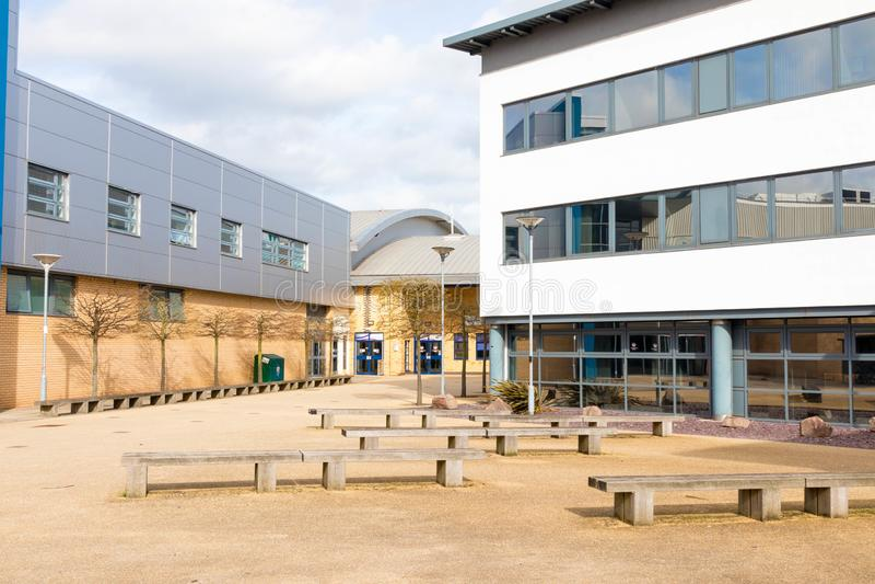 Loughborough/Reino Unido - 03 03 19: Terreno Reino Unido das construções do esporte da universidade de Loughborough imagem de stock royalty free