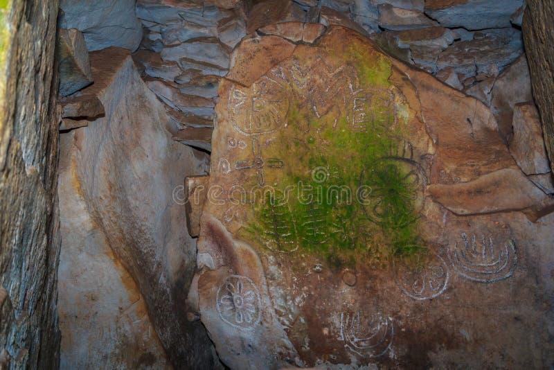 Loughcrew megalithic stone pattern royalty free stock photos