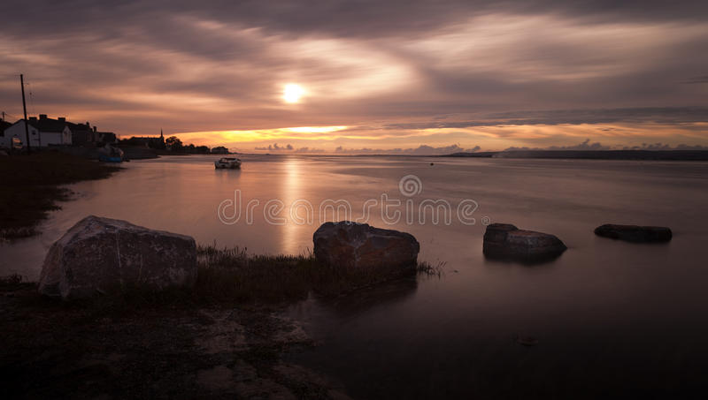 Loughor estuary sunset. Sunset at the Loughor Estuary, Penclawdd, north Gower, Swansea royalty free stock images