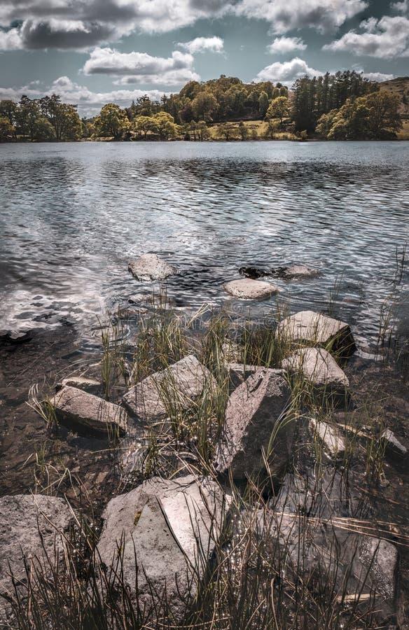 Loughrigg塔恩省和湖边岩石 图库摄影