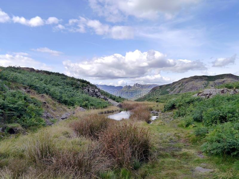 从Loughrigg看见的Langdale矛落,湖区 免版税库存图片