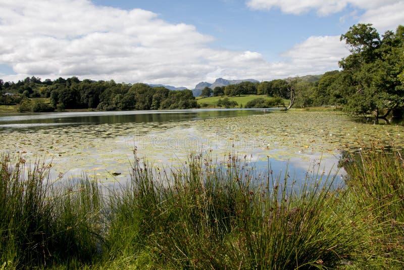 Loughrigg il Tarn con i lucci di Langdale nella distanza immagini stock