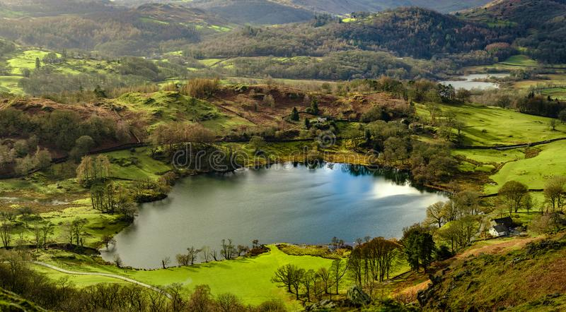 Loughrigg Tarn from Loughrigg Fell. English Lake District royalty free stock photography