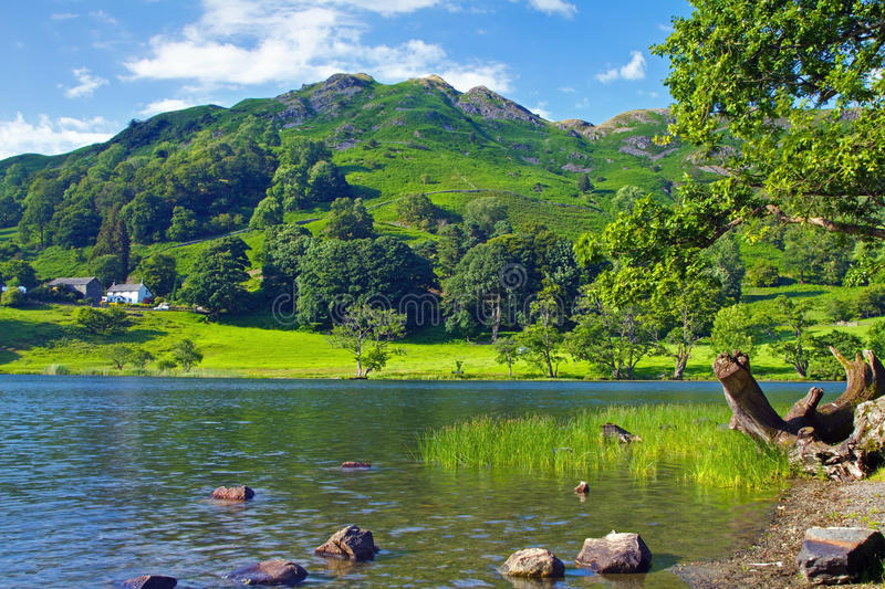 Loughrigg View. Loughrigg Tarn and Loughrigg Fell royalty free stock image