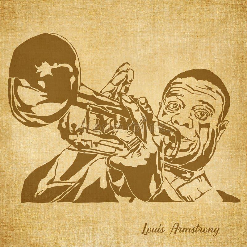 Louis Armstrong Digital Hand dragen illustration stock illustrationer