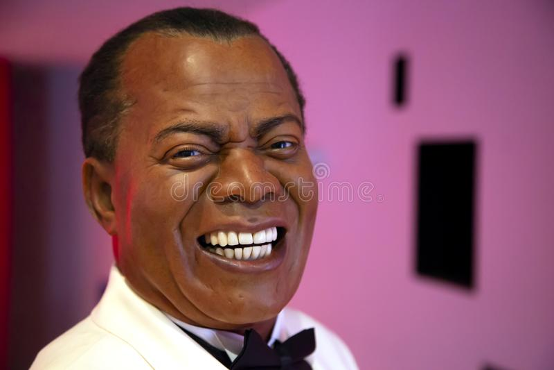 Louis Armstrong en señora Tussauds de Nueva York imagen de archivo libre de regalías