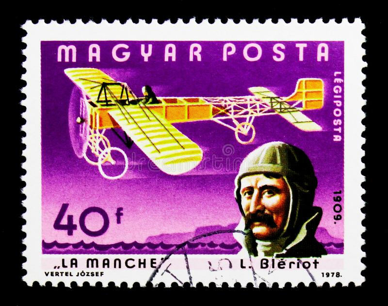 Louis Bleriot and La Manche, History of Pilots serie, circa 1978. MOSCOW, RUSSIA - NOVEMBER 26, 2017: A stamp printed in Hungary shows Louis Bleriot and La stock photo