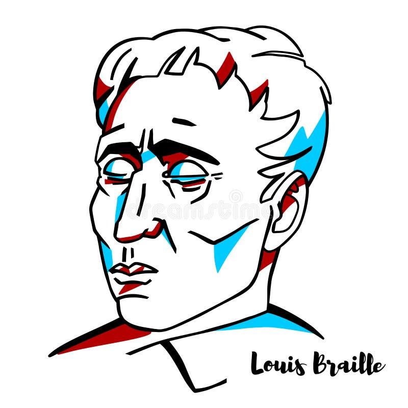 Louis Braille Portrait royalty-vrije illustratie