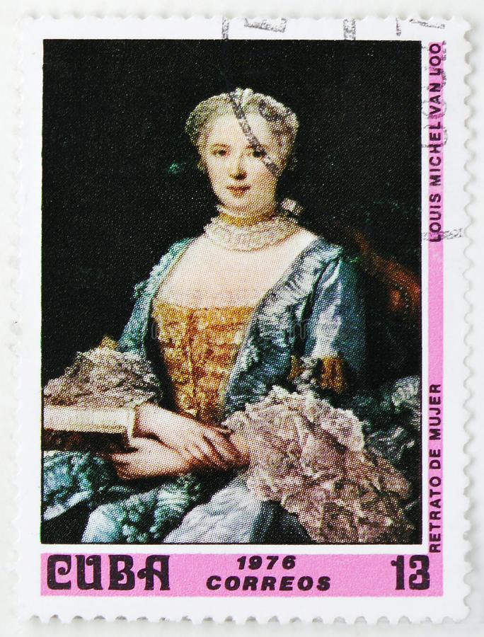 Louis Michael van Loo : Portrait of a woman, Paintings from the National Museum serie, circa 1976. MOSCOW, RUSSIA - JULY 25, 2019: Postage stamp printed in Cuba royalty free stock image