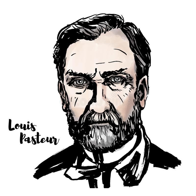 Louis Pasteur Portrait. Louis Pasteur watercolor vector portrait with ink contours. French biologist, microbiologist and chemist renowned for his discoveries of vector illustration