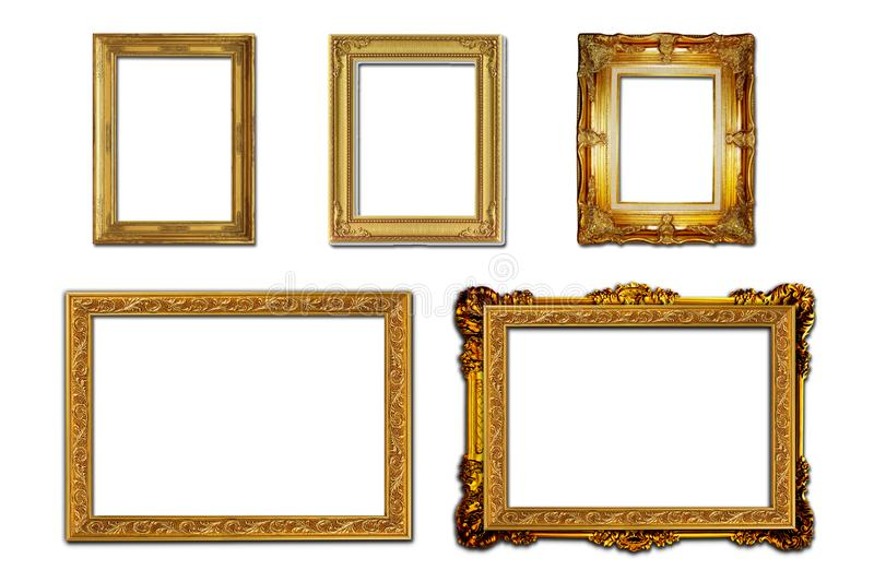 Louis style wooden photo frame on white background. stock photography