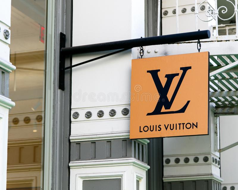 65ffdcd800e Louis Vuitton Sign Above A Shop Editorial Stock Image - Image of ...