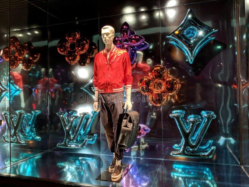 Louis Vuitton x Jeff Koons - het venster Displ van de Meestersinzameling royalty-vrije stock afbeeldingen