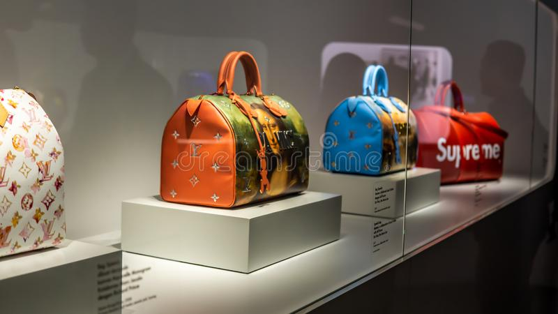 Louis Vuitton Keepall Bag collections showcase at the Time Capsule Exhibition by Louis Vuitton KLCC in Kuala Lumpur stock photo