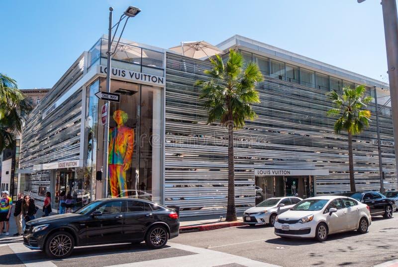 Louis Vuitton lager på Rodeo Drive i Beverly Hills - KALIFORNIEN, USA - MARS 18, 2019 arkivbild