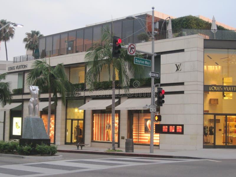 Louis Vuitton lager på rodeodrev i Beverly Hills arkivfoton