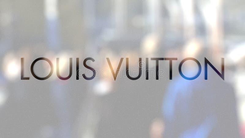 Louis Vuitton logo på ett exponeringsglas mot den suddiga folkmassan på steeten Redaktörs- tolkning 3D vektor illustrationer