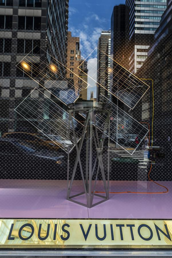 Louis Vuitton shop in Bloomingdale`s department store in New York City, USA. New York City, USA - July 31, 2018: Display of Louis Vuitton, luxury clothing shop stock photo