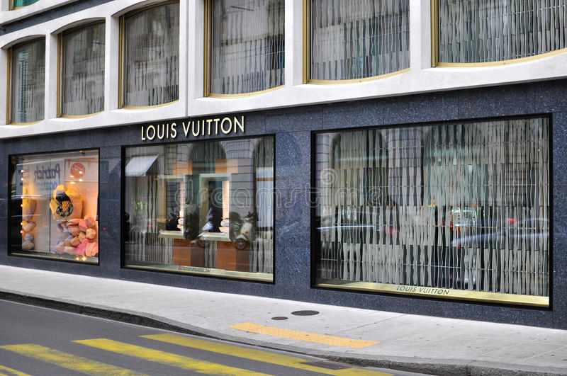Louis Vuitton store in the shopping street of Geneva royalty free stock images