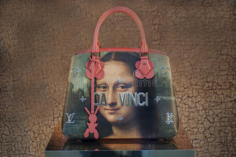 Louis Vuitton women bag painting line... Leonardo da Vinci. Louis Vuitton women bag painting line... motif for this line are paintings of the most famous stock photo