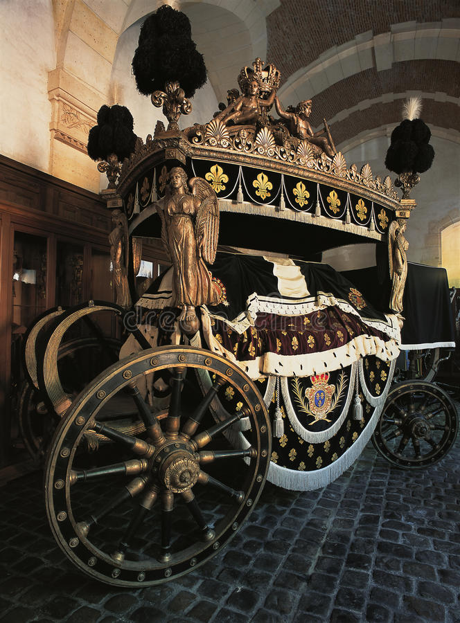 Louis XV funeral carriage at Versailles Palace royalty free stock photos