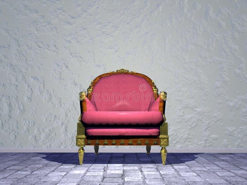 Louis XVI koninklijke stoel in de 3D straat - geef terug stock illustratie