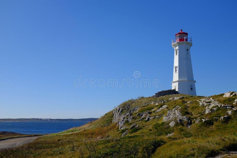 Louisbourg-Leuchtturm, Kap-Breton-Insel, Kanada lizenzfreies stockbild