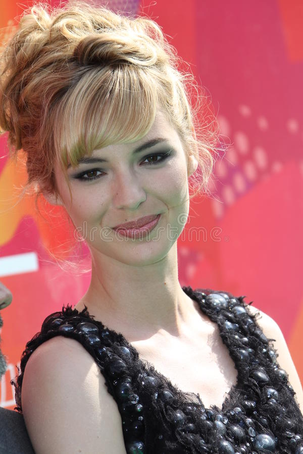 Louise Bourgoin. MOSCOW - JUNE 26: Louise Bourgoin a attends the closing ceremony of 32nd Moscow Film Festival on June 26, 2010 in Moscow, Russia royalty free stock image