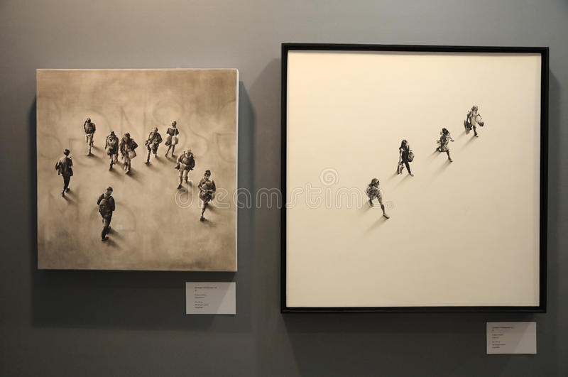 Louise Lawton artwork at the Affordable Art Fair 2017 in Singapore. Louise Lawton oil painting display on a wall at the Affordable ARt Fair 2017 in Singapore stock photos