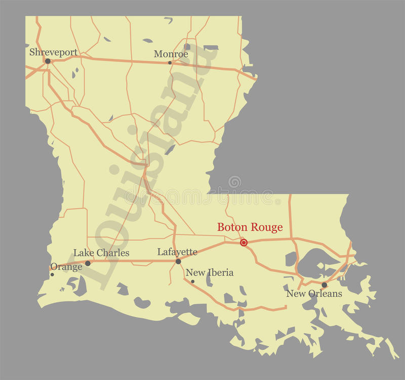 Free Louisiana Accurate Vector Exact Detailed State Map With Community Assistance And Activates Icons Original Pastel Illustration. Un Stock Photo - 97817890