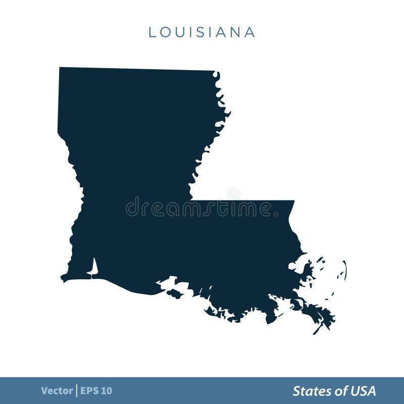 Louisiana - estados de projeto da ilustração do molde do vetor do ícone do mapa dos E.U. Vetor EPS 10 ilustração royalty free